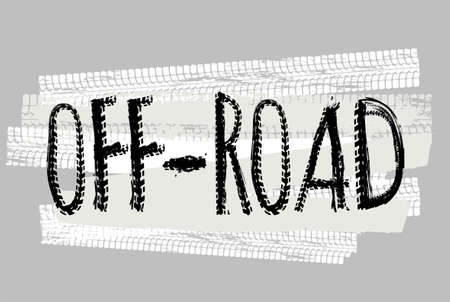 Off-Road hand drawn grunge lettering. Tire tracks words made from unique letters. Beautiful vector illustration. Editable graphic element in white and black colours. Illustration