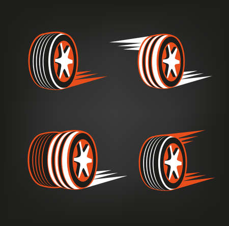 Car tire icons set in dark grey, white and orange colours useful for icon and logotype design on a dark background. Vector illustration in a modern style. Digital pictogram collection.