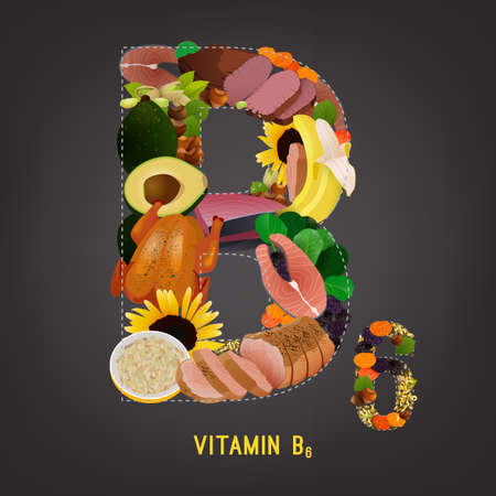 salmon steak: High vitamin B6 Foods. Healthy fruits, berries, nuts, fish, meat and vegetables in a letter B shape. Vector illustration in bright colours on a dark grey background. Illustration