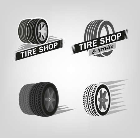 Car tire icons set in grey colours useful for icon and logotype design. Beautiful vector illustration in realistic graphic style. Transportation automotive concept. Digital pictogram collection. Illustration