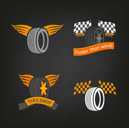 tire cover: Car tire icons set in dark grey, white and orange colours useful for icon and logotype design on a dark background. Vector illustration in a modern graphic style. Digital pictogram collection.