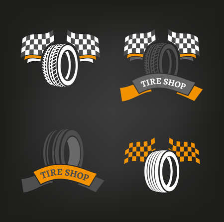 Tire shop illustration. Illustration