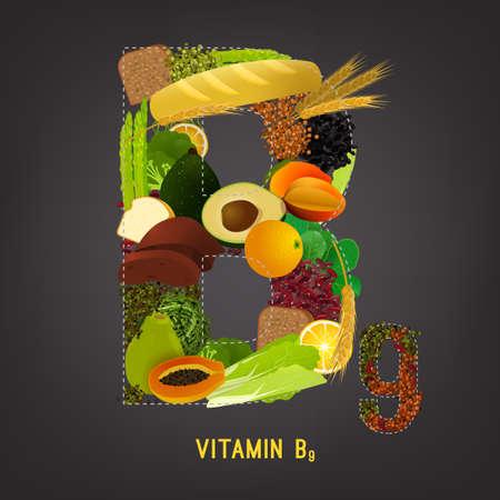 Vitamin B9 in food.