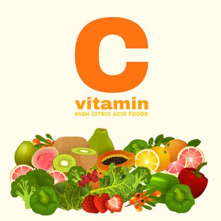 kale: Vitamin C in Food Illustration