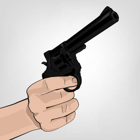 Woman hand holding revolver. Vector color illustration isolated on white background.