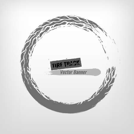 traction: Tire track circle grunge frame. Digital vector illustration. Automotive background element useful for poster, flyer, book, brochure and leaflet design. Editable graphic image in monochrome colors. Illustration