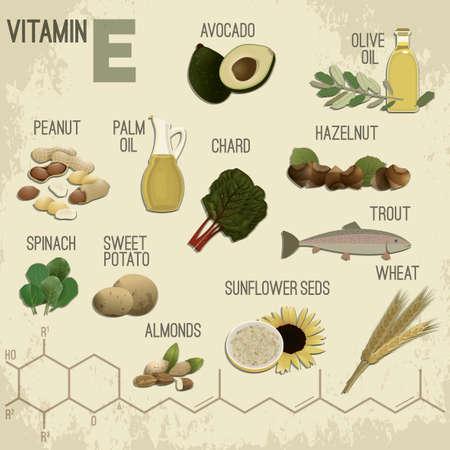 Hoog vitamine E-voedsel. Gezond fruit, bessen, noten, vis en groenten. Vectorillustratie in retro stijl met chemische formule in heldere kleuren op een lichte beige gestructureerde achtergrond.