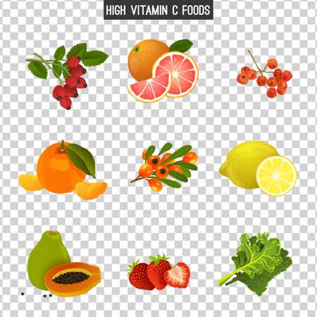 Wysoka zawartość witaminy C. Zdrowe owoce, jagody i warzywa. Ilustracja wektorowa w jasnych kolorach na przezroczystym tle