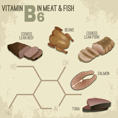 salmon steak: High vitamin B6 Foods. Healthy meat, fish and chicken. Vector illustration in retro style with chemical formula on a light beige background.