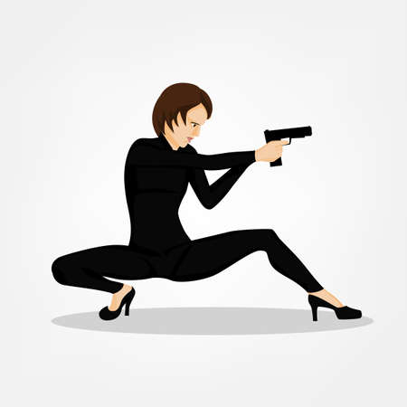 firing: Secret service female agent in black suit shooting with revolver. Sexy woman on duty. Beautiful vector illustration in cartoonish comics style isolated on white background.