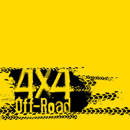 Off-Road 4x4 hand drawn grunge lettering on a bright yellow background Illustration