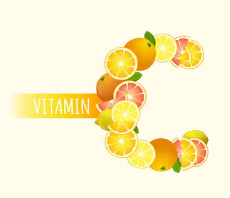 Citrus fruits - lemons, oranges and grapefruits highest in vitamin C composing C letter shape Illustration