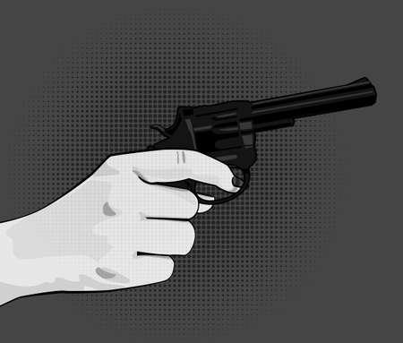 Hand holding revolver