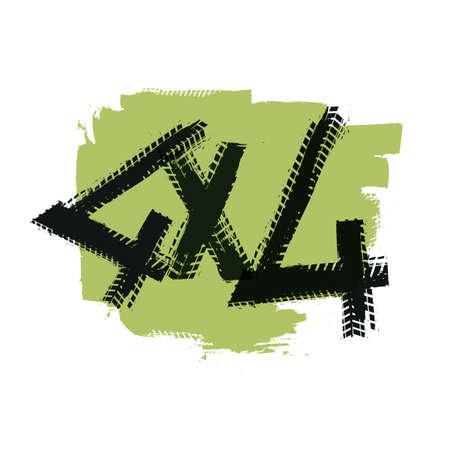 4x4 Lettering Image Illustration