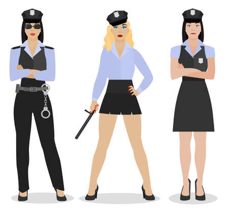 lawman: Police women in sexy uniform. Vector illustration in flat style isolated on a white background.