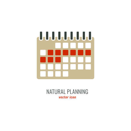 Female ovulation calendar with marked days. Menstruation period. Menstrual cycle icon. Medical birth control. Natural pregnancy planning. Flat vector illustration isolated on white background.