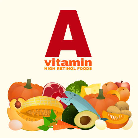 Vitamin A concept. High retinol foods. Food sources graphic information. Vector illustration isolated on a light beige background. Illustration