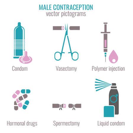 Man Contraception Pictograms Иллюстрация