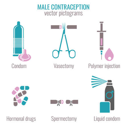 Man Contraception Pictograms Illustration