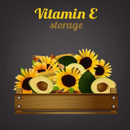 Vitamin E Crate Illustration