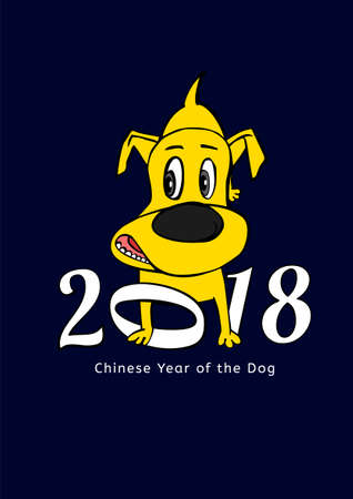 2018 Happy New Year greeting card. Yellow dachshund in cartoonish style with white figures on a dark blue background. Chinese New Year of the earth dog concept. Vector illustration Illustration