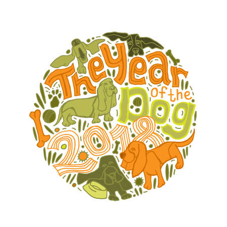 Typographical greeting card with a Happy new year 2018 Lettering. Can be used as a print for bags, T-shirts, posters and greeting cards. The year of the dog concept. Hand drawn vector illustration.