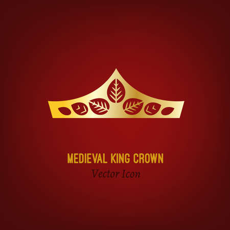 royal person: The crown of the medieval king. Beautiful vector illustration in gold colour isolated on a deep red background. Flat icon concept.