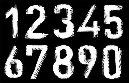 Grunge tire figures. Unique off road isolated lettering in a white colour on a black background. Vector illustration. Creative numbers collection.