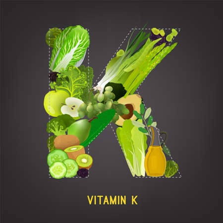 Fresh greens, vegeetables and fruits highest in vitamin K composing K letter shape. Nutrition and healthy eating concept. Beautiful vector illustration isolated on a dark grey background.