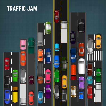 Bovenaanzicht opstopping concept. Bewerkbare vectorillustratie in moderne vlakke stijl. Automotive-collectie. Abstracte transport probleem achtergrond.
