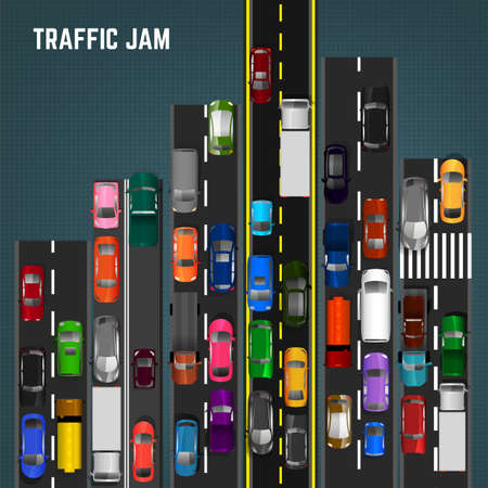 Top view traffic jam concept. Editable vector illustration in modern flat style. Automotive collection. Abstract transport problem background. Illustration