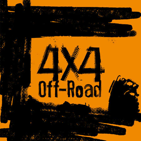 Off-Road 4x4 hand drawn grunge lettering. Tire tracks words made from unique letters. Beautiful vector illustration in a textured poster style. Editable graphic element in orange and black colours.