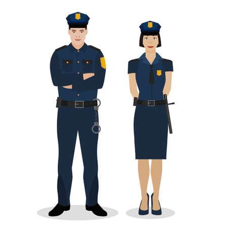 Officiers de police en uniforme. Illustration vectorielle dans un style plat isolé sur fond blanc.