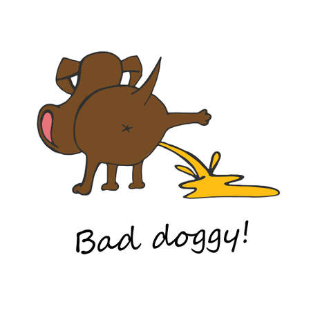 Hand drawn funny peeing dog. Unique illustration in modern style. Beautiful image in brown and yellow colours isolated on white . Bad dog poster.