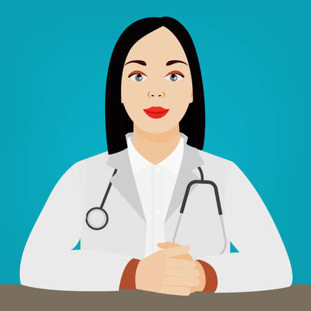 Female doctor sitting in a medical gown and stethoscope. Vector illustration. Medical and healthcare concept. Çizim