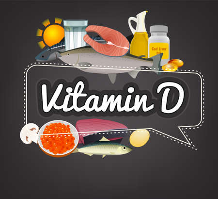 Vitamin D banner. Beautiful vector illustration with caption lettering and top foods highest in vitamin D. Useful for leaflet, brochure or poster design as a header or other graphic element.