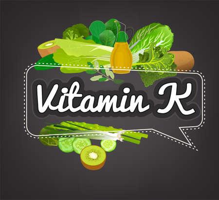 Vitamine K-banner. Mooie vectorillustratie met bijschrift het van letters voorzien en hoogste voedsel hoogst in vitamine K. Nuttig voor pamflet, brochure of afficheontwerp als kopbal of ander grafisch element. Stockfoto - 88045292