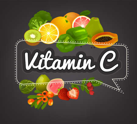 VitaminC banner. Beautiful vector illustration with caption lettering and top foods highest in vitamin C. Useful for leaflet, brochure or poster design as a header or other graphic element.
