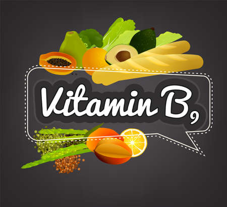 Vitamin B9 banner. Beautiful vector illustration with caption lettering and top foods highest in vitamin B9. Useful for leaflet, brochure or poster design as a header or other graphic element. Illustration