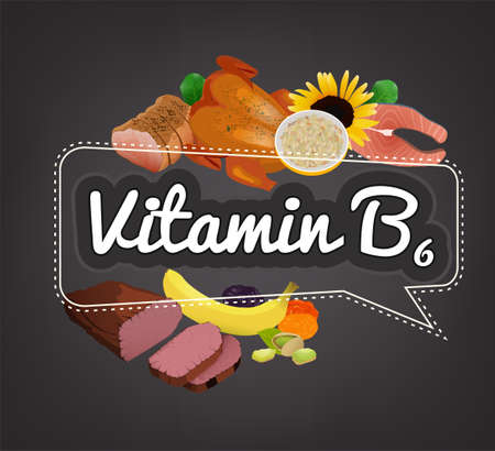 Vitamin E banner. Beautiful vector illustration with caption lettering and top foods highest in vitamin E. Useful for leaflet, brochure or poster design as a header or other graphic element.