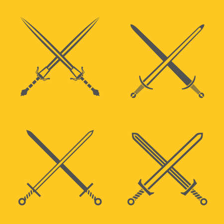 Medieval swords icon. Crossed blades element for the heraldic emblem design. Beautiful vector illustration in gray color isolated on a bright yellow background.
