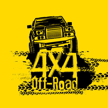 Off-Road hand drawn grunge lettering with a car in a vintage poster style, graphic element in yellow and black colours. Stock Vector - 88327731