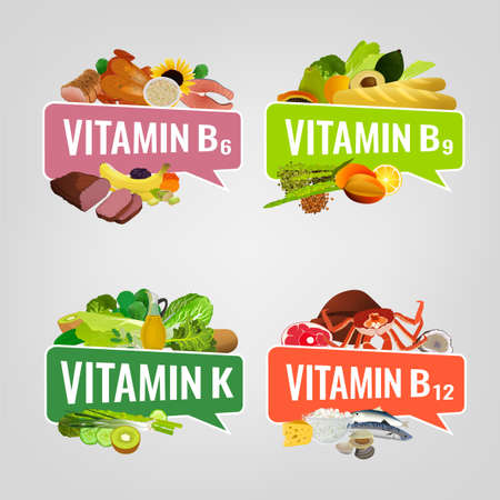 Vitamin banner, design illustrations with caption lettering and top foods highest in different vitamins. Illustration