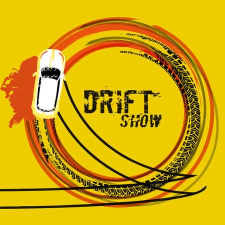 オレンジ、黒、黄色の色のグランジ スタイルのイメージで車トップ設計図を漂流します。 写真素材 - 88327930