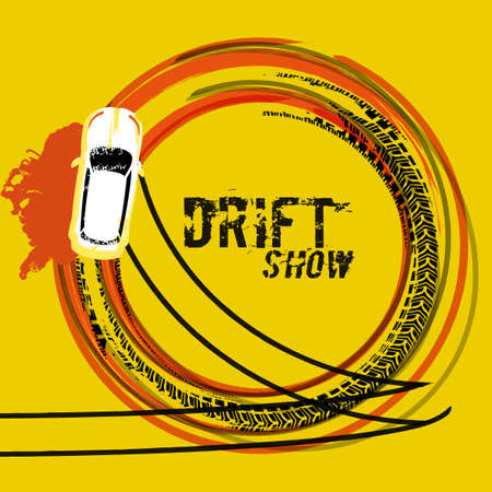 Drifting car top view design illustration in grunge style image in orange, black and yellow colors.