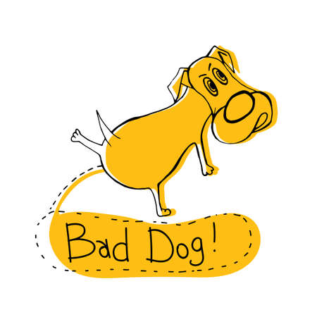 Hand drawn funny peeing dog, illustration in modern style, black and yellow colors on white backdrop poster. Illustration