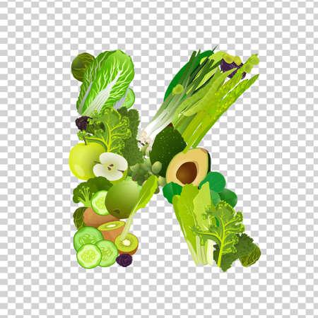kale: Vitamin K Letter