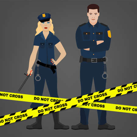 Policemen characters in a blue uniform with handcuffs behind the yellow cation tape. Illustration