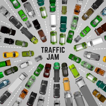 Trafic de la ville avec des images de voitures vue de dessus