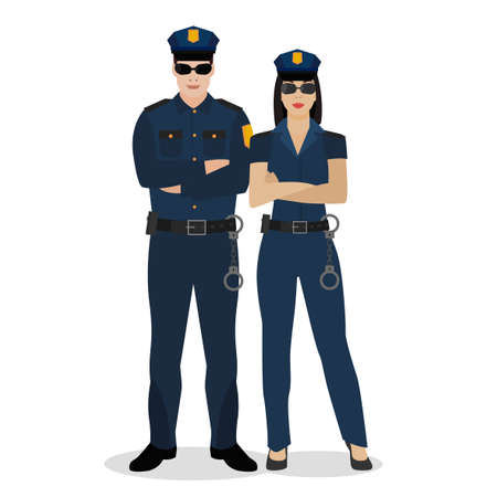 Officiers de police en uniforme. Illustration vectorielle dans un style plat isolé sur fond blanc. Banque d'images - 88704261
